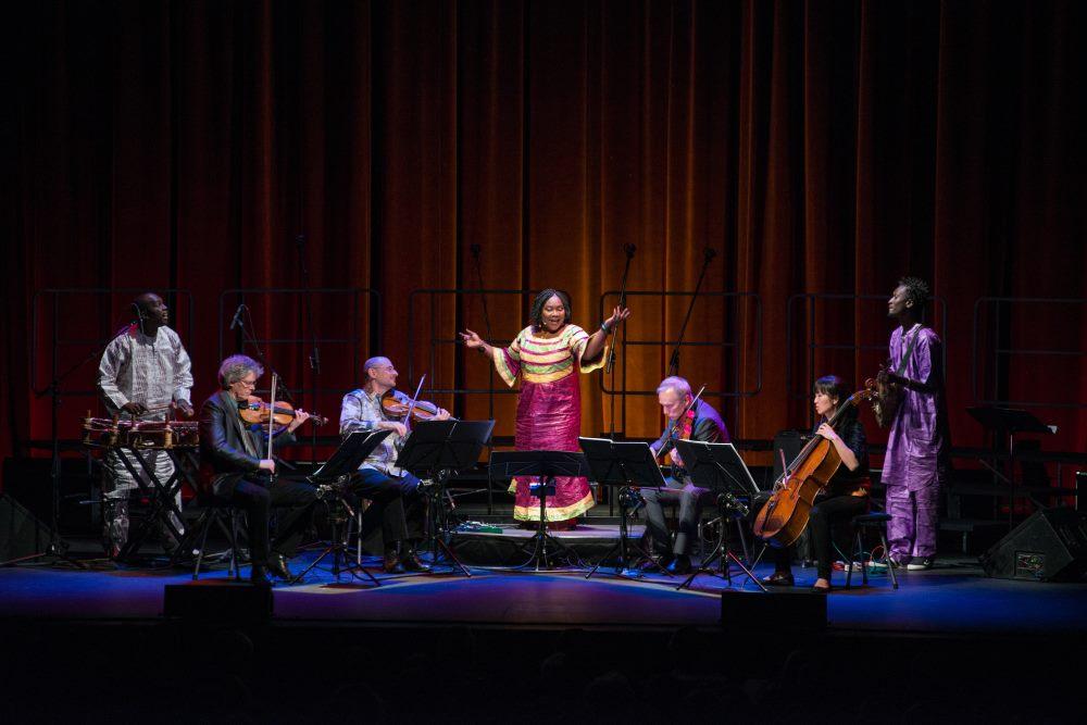 Kronos Quartet performing with Trio Da Kali by Lenny Gonzalez