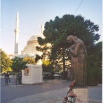 Shkodër, Albania: mosque and statue of Mother Teresa (2007), (c) Ardian Ahmedaja